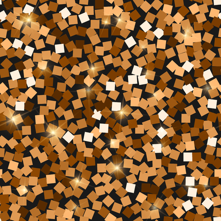 Glitter seamless texture. Adorable red gold particles. Endless pattern made of sparkling squares. Exquisite abstract vector illustration.