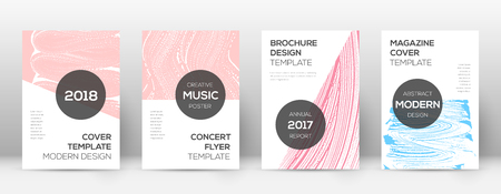 Cover page design template. Modern brochure layout. Cool trendy abstract cover page. Pink and blue grunge texture background. Overwhelming poster.