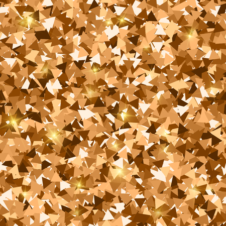 Glitter seamless texture. Adorable red gold particles. Endless pattern made of sparkling triangles. Shapely abstract vector illustration.
