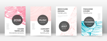 Cover page design template. Modern brochure layout. Cool trendy abstract cover page. Pink and blue grunge texture background. Tempting poster.