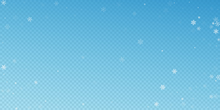 Sparse snowfall Christmas background. Subtle flying snow flakes and stars on blue transparent background. Beautiful winter silver snowflake overlay template. Trending vector illustration.