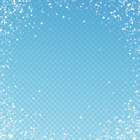 Random white dots Christmas background. Subtle flying snow flakes and stars on blue transparent background. Amusing winter silver snowflake overlay template. Impressive vector illustration.