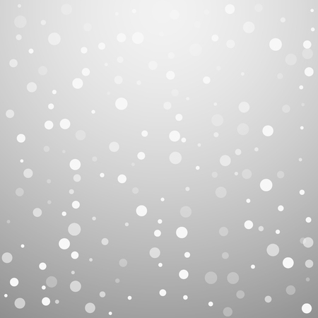 White dots Christmas background. Subtle flying snow flakes and stars on light grey background. Alive winter silver snowflake overlay template. Good-looking vector illustration.