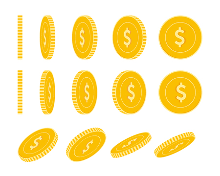 American dollar coins set, animation ready. USD yellow coins rotation. USA metal money in different positions isolated. Gorgeous cartoon vector illustration.