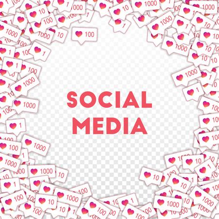 Social media icons. Social media marketing concept. Falling gradient like counter. Round random frame elements on transparent grid background.
