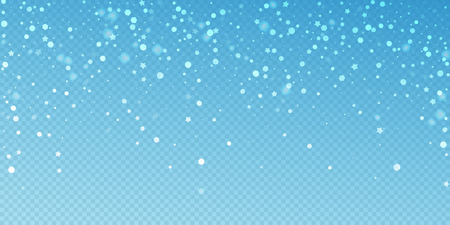 Magic stars random Christmas background. Subtle flying snow flakes and stars on blue transparent background. Attractive winter silver snowflake overlay template. Breathtaking vector illustration.