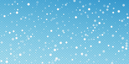 White dots Christmas background. Subtle flying snow flakes and stars on blue transparent background. Awesome winter silver snowflake overlay template. Bold vector illustration.