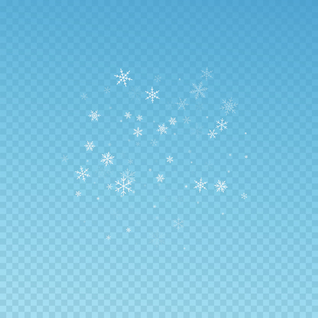 Sparse snowfall Christmas background. Subtle flying snow flakes and stars on blue transparent background. Beauteous winter silver snowflake overlay template. Juicy vector illustration.