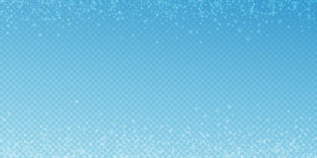 Beautiful glowing snow Christmas background. Subtle flying snow flakes and stars on blue transparent background. Amusing winter silver snowflake overlay template. Overwhelming vector illustration. Illustration