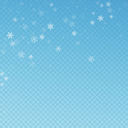 Sparse snowfall Christmas background. Subtle flying snow flakes and stars on blue transparent background. Adorable winter silver snowflake overlay template. Pretty vector illustration.