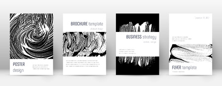 Cover page design template. Minimalistic brochure layout. Classic trendy abstract cover page. Black and white grunge texture background. Optimal poster.