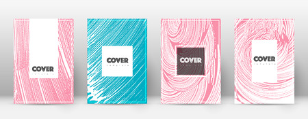 Cover page design template. Hipster brochure layout. Brilliant trendy abstract cover page. Pink and blue grunge texture background. Bold poster.