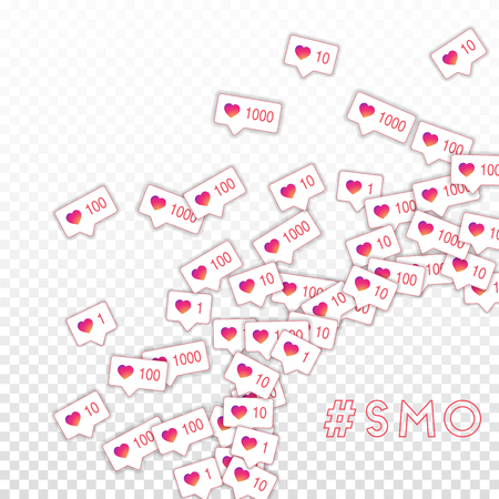 Social media icons. Smo concept. Falling gradient like counter. Radiant right bottom corner elements on transparent grid background. Illustration