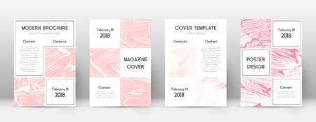 Cover page design template. Business brochure layout. Bizarre trendy abstract cover page. Pink and blue grunge texture background. Charming poster.