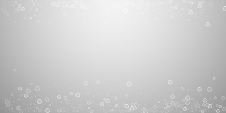 Soap bubbles abstract background. Blowing bubbles on light grey background. Breathtaking soapy foam overlay template. Amazing vector illustration.