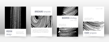 Cover page design template. Minimalistic brochure layout. Classic trendy abstract cover page. Black and white grunge texture background. Noteworthy poster. 向量圖像