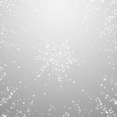 Random white dots Christmas background. Subtle flying snow flakes and stars on light grey background. Actual winter silver snowflake overlay template. Delicate vector illustration.