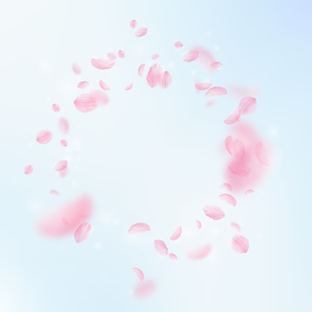 Sakura petals falling down. Romantic pink flowers vignette. Flying petals on blue sky square background. Love, romance concept. Elegant wedding invitation.