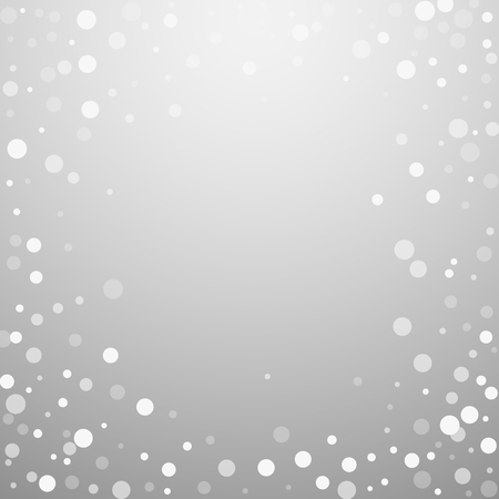 White dots Christmas background. Subtle flying snow flakes and stars on light grey background. Amusing winter silver snowflake overlay template. Admirable vector illustration.
