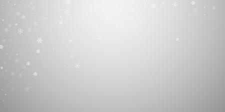 Sparse snowfall Christmas background. Subtle flying snow flakes and stars on light grey background. Authentic winter silver snowflake overlay template. Tempting vector illustration.