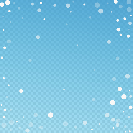 White dots Christmas background. Subtle flying snow flakes and stars on blue transparent background. Amazing winter silver snowflake overlay template. Optimal vector illustration.