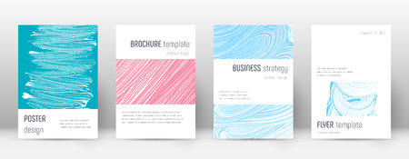 Cover page design template. Minimalistic brochure layout. Classy trendy abstract cover page. Pink and blue grunge texture background. Powerful poster. Ilustrace