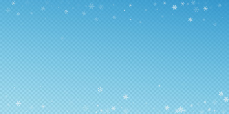 Sparse snowfall Christmas background. Subtle flying snow flakes and stars on blue transparent background. Amusing winter silver snowflake overlay template. Valuable vector illustration. Illustration