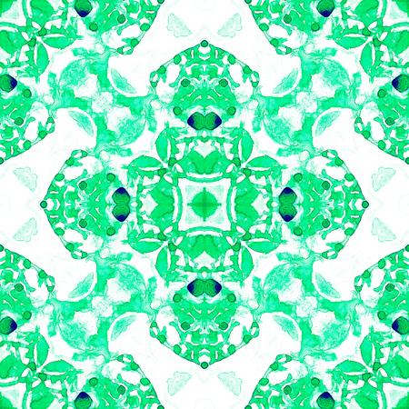 Modèle sans couture vert. Jolies bulles de savon délicates. Ornement textile dessiné à la main en dentelle. Impression de lingerie kaléidoscope mandala. Fond aquarelle abstraite extraordinaire.
