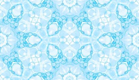 Modèle sans couture bleu. Étonnantes bulles de savon délicates. Ornement textile dessiné à la main en dentelle. Impression de lingerie kaléidoscope mandala. Superbe fond aquarelle abstraite. Banque d'images