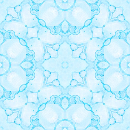 Blue seamless pattern. Artistic delicate soap bubbles. Lace hand drawn textile ornament. Kaleidoscope mandala lingerie print. Cool abstract watercolor background. 스톡 콘텐츠
