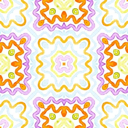 Colorful Geometric Watercolor. Dazzling Seamless Pattern. Hand Drawn Stripes. Brush Texture. Dramatic Chevron Ornament. Fabric Cloth Swimwear Design Wallpaper Wrapping.