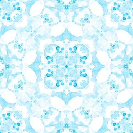 Blue seamless pattern. Artistic delicate soap bubbles. Lace hand drawn textile ornament. Kaleidoscope mandala lingerie print. Magnificent abstract watercolor background. Stock Photo