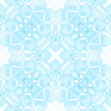 Blue seamless pattern. Appealing delicate soap bubbles. Lace hand drawn textile ornament. Kaleidoscope mandala lingerie print. Posh abstract watercolor background.