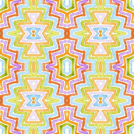 Colorful Geometric Watercolor. Dazzling Seamless Pattern. Hand Drawn Stripes. Brush Texture. Gorgeous Chevron Ornament. Fabric Cloth Swimwear Design Wallpaper Wrapping.