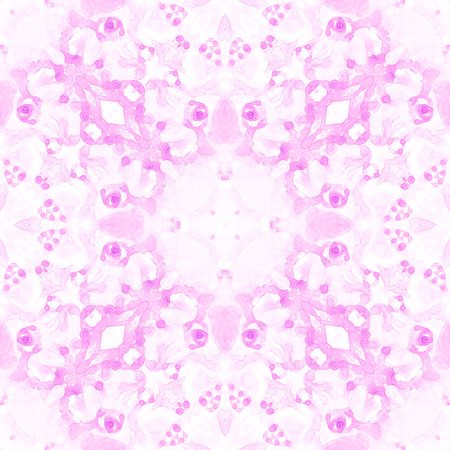 Pink seamless pattern. Artistic delicate soap bubbles. Lace hand drawn textile ornament. Kaleidoscope mandala lingerie print. Impressive abstract watercolor background. 스톡 콘텐츠