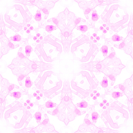 Pink seamless pattern. Artistic delicate soap bubbles. Lace hand drawn textile ornament. Kaleidoscope mandala lingerie print. Posh abstract watercolor background. Stock Photo