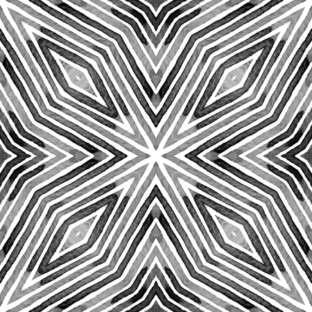 Black and white Geometric Watercolor. Creative Seamless Pattern. Hand Drawn Stripes. Brush Texture. Bewitching Chevron Ornament. Fabric Cloth Swimwear Design Wallpaper Wrapping. 스톡 콘텐츠
