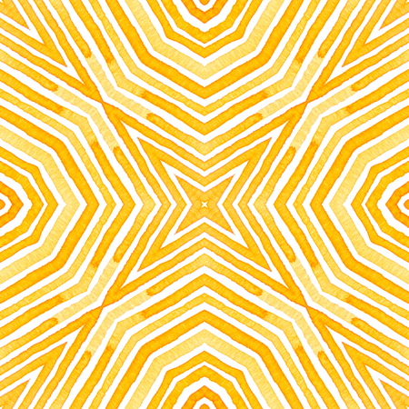 Orange Geometric Watercolor. Delicate Seamless Pattern. Hand Drawn Stripes. Brush Texture. Enchanting Chevron Ornament. Fabric Cloth Swimwear Design Wallpaper Wrapping. Stock Photo