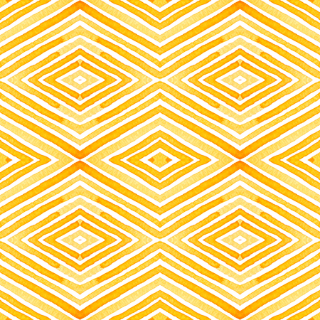 Orange Geometric Watercolor. Delicate Seamless Pattern. Hand Drawn Stripes. Brush Texture. Flawless Chevron Ornament. Fabric Cloth Swimwear Design Wallpaper Wrapping.