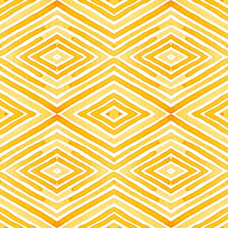 Oranje geometrische aquarel. Delicaat Naadloos Patroon. Hand getrokken strepen. Borstel textuur. Onberispelijk Chevron Ornament. Stoffen Doek Badmode Design Wallpaper Wrapping.