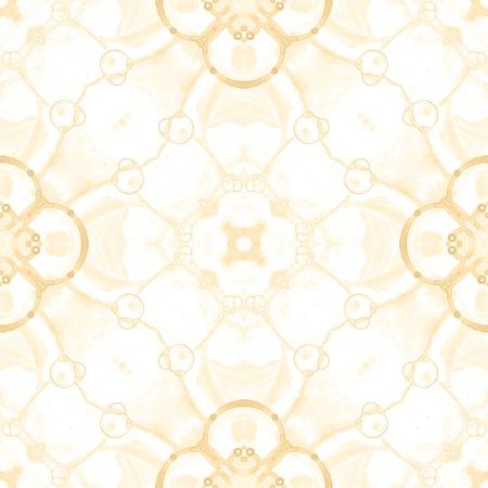 Modèle sans couture jaune. Bulles de savon délicates artistiques. Ornement textile dessiné à la main en dentelle. Imprimé de lingerie mandala kaléidoscope. Ravissant fond abstrait. Banque d'images