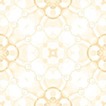 Yellow seamless pattern. Artistic delicate soap bubbles. Lace hand drawn textile ornament. Kaleidoscope mandala lingerie print. Ravishing abstract  background.
