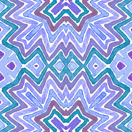 Blue Geometric . Curious Seamless Pattern. Hand Drawn Stripes. Brush Texture. Overwhelming Chevron Ornament. Fabric Cloth Swimwear Design Wallpaper Wrapping. Stock fotó