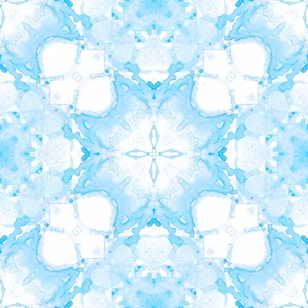 Blue seamless pattern. Artistic delicate soap bubbles. Lace hand drawn textile ornament. Kaleidoscope mandala lingerie print. Fascinating abstract  background.