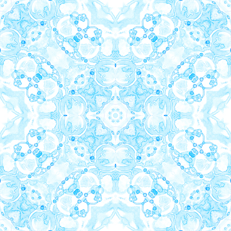 Blue seamless pattern. Appealing delicate soap bubbles. Lace hand drawn textile ornament. Kaleidoscope mandala lingerie print. Actual abstract  background.
