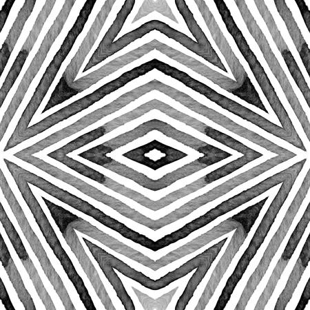 Black and white Geometric . Creative Seamless Pattern. Hand Drawn Stripes. Brush Texture. Fair Chevron Ornament. Fabric Cloth Swimwear Design Wallpaper Wrapping.