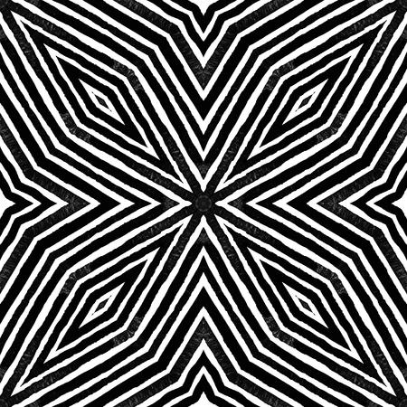 Dark black and white Geometric . Dazzling Seamless Pattern. Hand Drawn Stripes. Brush Texture. Juicy Chevron Ornament. Fabric Cloth Swimwear Design Wallpaper Wrapping. Stock Photo