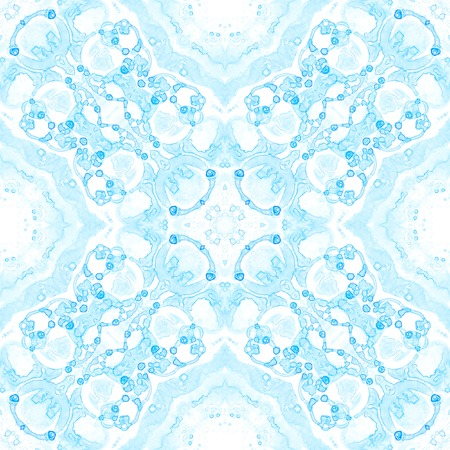 Blue seamless pattern. Appealing delicate soap bubbles. Lace hand drawn textile ornament. Kaleidoscope mandala lingerie print. Bewitching abstract  background. Stock Photo