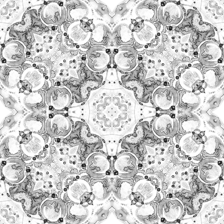 Black and white seamless pattern. Appealing delicate soap bubbles. Lace hand drawn textile ornament. Kaleidoscope mandala lingerie print. Amusing abstract  background. 免版税图像