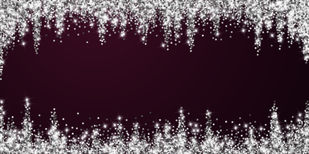 Sparkling silver luxury sparkling confetti. Scattered small gold particles on red maroon background. Alive festive overlay template. Perfect vector illustration.